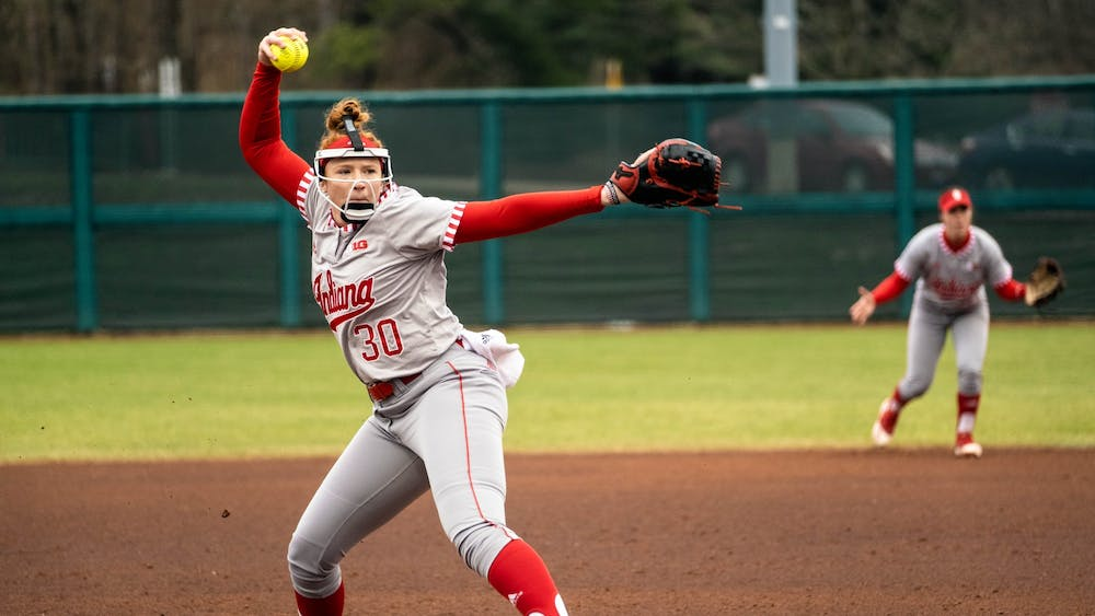Then-senior pitcher Emily Goodin strikes out multiple batters in the span of seven innings March 10 at Andy Mohr Field. Goodin recorded 111 strikeouts, five shutouts and a 1.76 ERA last season.