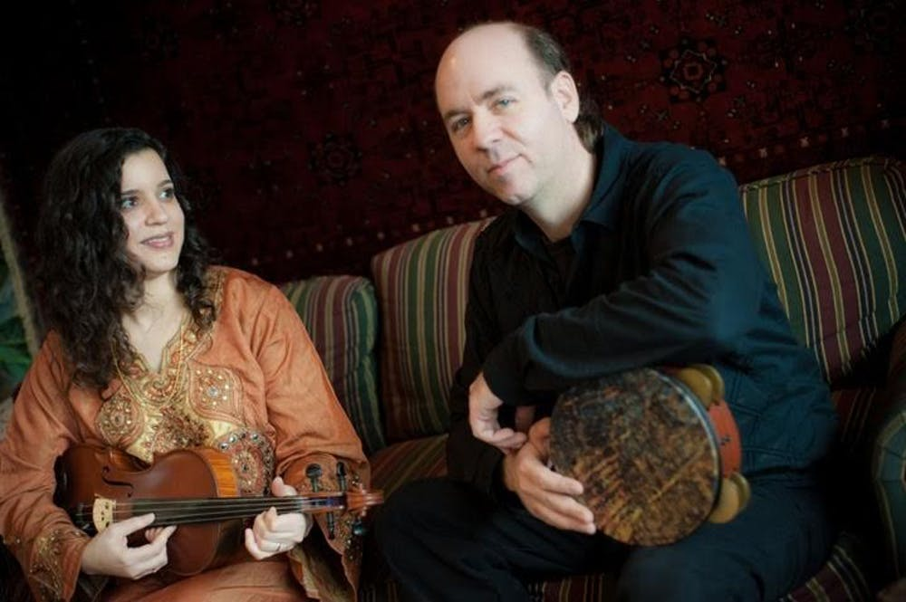 "<p>From left: Dena El Saffar and her husband Tim Moore of the band Salaam. The quartet will perform on Thursday as part of The Player's Pub's monthly ""World Music Night.""</p>"