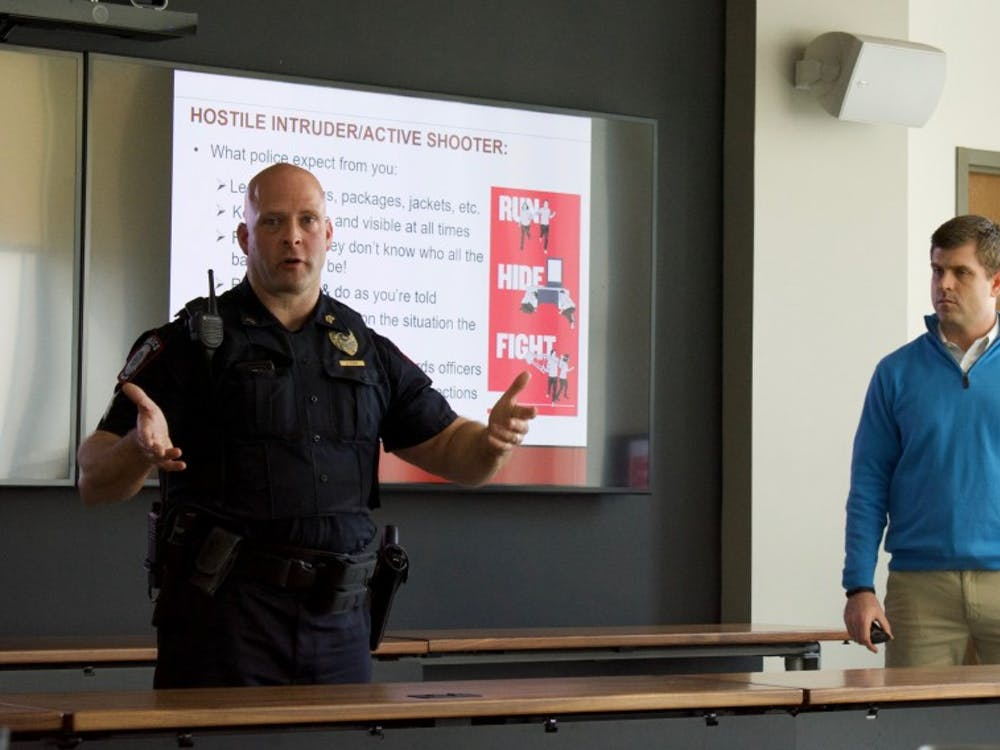 """IU Police Department Sgt. Brian Oliger talks about the """"Fight"""" component of the """"Run-Hide-Fight"""" model of responding to an active aggressor situation. Oliger and Steve Balko, assistant director of Emergency Management and Continuity at IU-Bloomington, taught a class on active aggressor response Thursday."""
