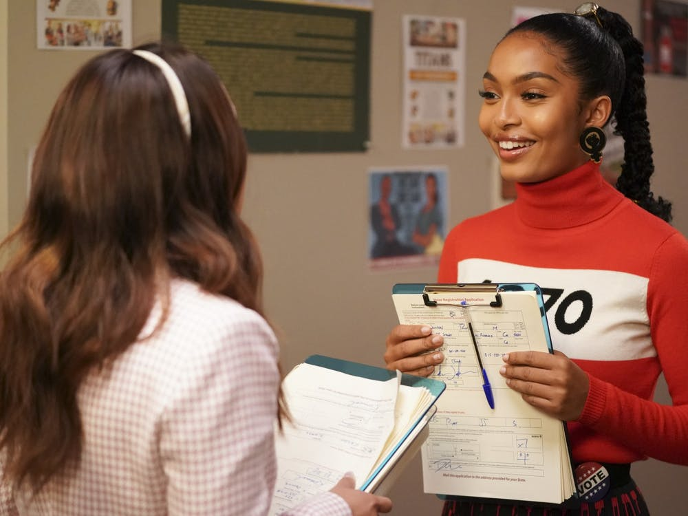 """Zoey Johnson, played by Yara Shahidi, speaks to Ana Torres, played by Francia Raisa, in the Freeform series """"grown-ish."""" The summer finale will air 8 p.m. on Sept. 2, 2021."""