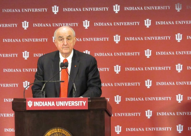 IU President Michael McRobbie looks up from the podium Oct. 16 at the 2018 State of the University address.