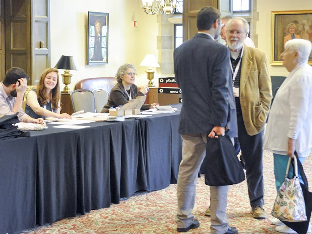 Members of the Association for Recorded Sound Collections welcome visitors to the organization's 50th Anniversary conference on Wednesday afternoon at the Indiana Memorial Union.