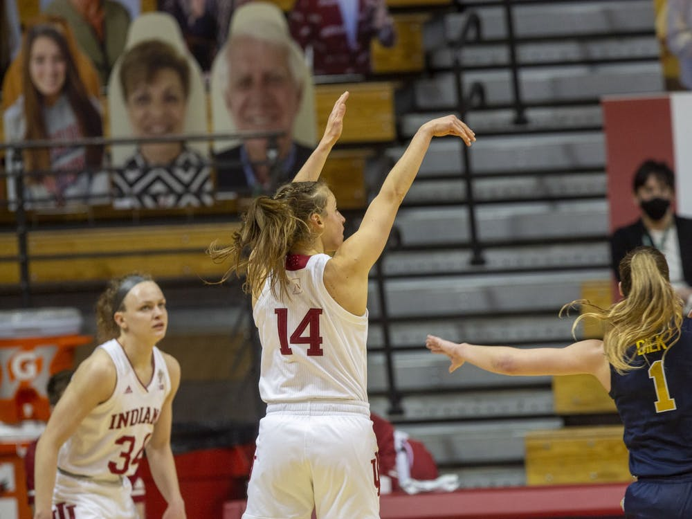 Redshirt senior guard Ali Patberg follows through her shot Feb. 18 in Simon Skjodt Assembly Hall.
