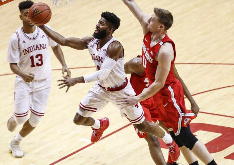 Former IU men's basketball player Robert Johnson shoots a layup during the Hoosiers' game against the Ohio State Buckeyes Feb. 23 at Simon Skjodt Assembly Hall. Johnson is one of six former IU basketball players that will be participating in this year's NBA Summer League.