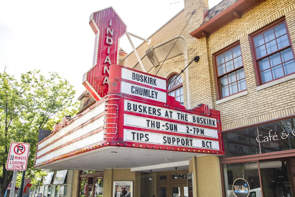 """<p>The marquee of the Buskirk-Chumley Theater is seen on April 20, 2021, on Kirkwood Avenue. The Cardinal Stage theater company introduced the """"Play What You Will"""" initiative, allowing audiences to pick their ticket prices exclusively for the 2021-22 season.</p>"""