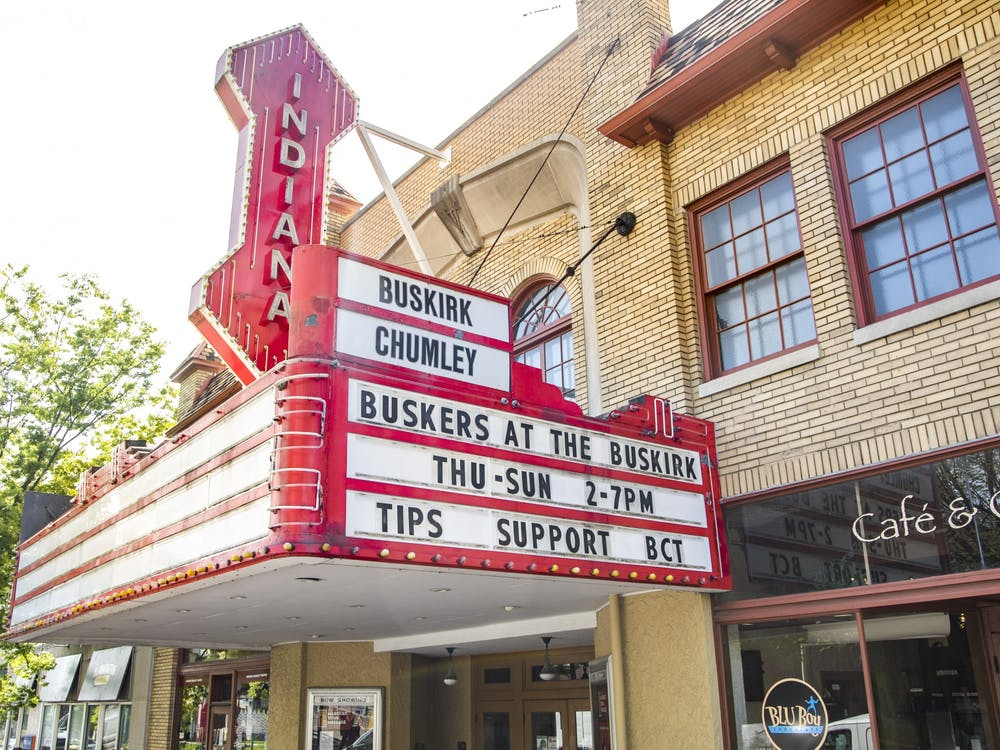 """The marquee of the Buskirk-Chumley Theater is seen on April 20, 2021, on Kirkwood Avenue. The Cardinal Stage theater company introduced the """"Play What You Will"""" initiative, allowing audiences to pick their ticket prices exclusively for the 2021-22 season."""