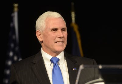 Mike Pence smiles as he give his acceptance speech Nov. 6, 2012 at Lucas Oil Stadium.