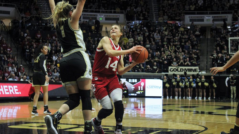 Redshirt junior guard Ali Patberg attempts to shoot the ball Feb. 3 in Mackey Arena. IU defeated Purdue 66-54.