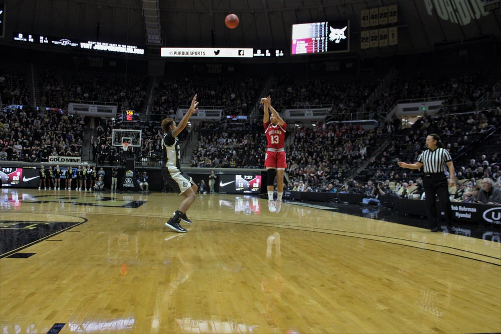 <p>Junior guard Jaelynn Penn attempts to score a 3-point shot Feb. 3 in Mackey Arena. Penn made one of five attempted 3-pointers and 15 total points in the game against Purdue.</p>