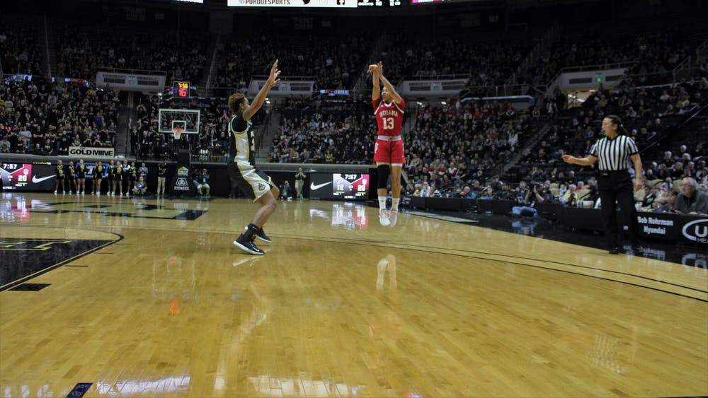 Junior guard Jaelynn Penn attempts to score a 3-point shot Feb. 3 in Mackey Arena. Penn made one of five attempted 3-pointers and 15 total points in the game against Purdue.