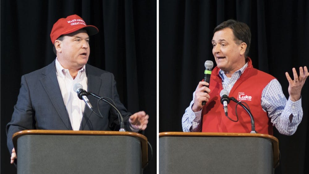 """Congressmen Todd Rokita, R-4th District, and Luke Messer, R-6th District, deliver remarks at the state Republican party's Congress of Countries on Saturday. Neither of the two front-runners for the Republican nomination in Indiana's 2018 Senate primary disavowed President Trump's reported complaints about accepting immigrants from """"shithole countries."""""""