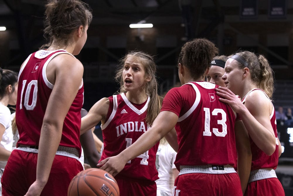 <p>Redshirt junior Ali Patberg pulls the IU players together for a huddle Dec. 11 at Hinkle Fieldhouse in Indianapolis. IU is ranked No. 15 in this week&#x27;s AP Top 25 Poll.</p>