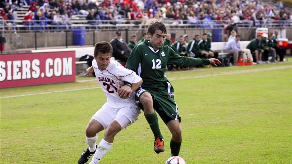 Daniel Kelly fights for the ball against Michigan State on Sunday, Oct. 18, 2009. The Hoosiers lost 1-0 in double overtime.