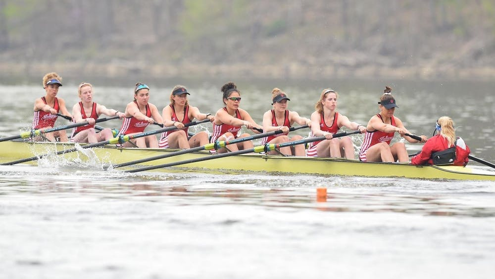 The IU rowing team rows during the Big Ten Invitational on April 18 in Bethel, Ohio. The Novice 8 team finished in third place in the Big Ten Championships this past weekend.