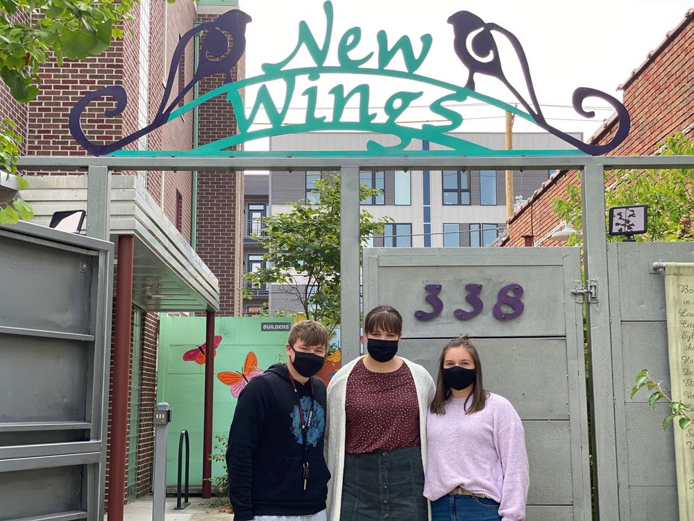 Treasurer of the Dignity Project Harrison Wright, co-president and founder of the Dignity project Sydney Melvin and co-president of the Dignity Project Mary Hobson are pictured. The Dignity Project aims to fight period poverty in the Bloomington community by creating an increased awareness, and collecting and redistributing funds and hygiene products to local shelters.