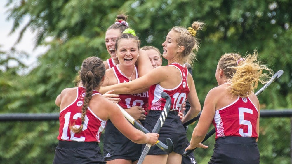 The IU field hockey team celebrates senior Ciara Girouard's goal against Ball State University on Sept. 8 at the IU Field Hockey Complex. IU will begins its eight-game conference slate Friday when it takes on No. 25 Michigan State.