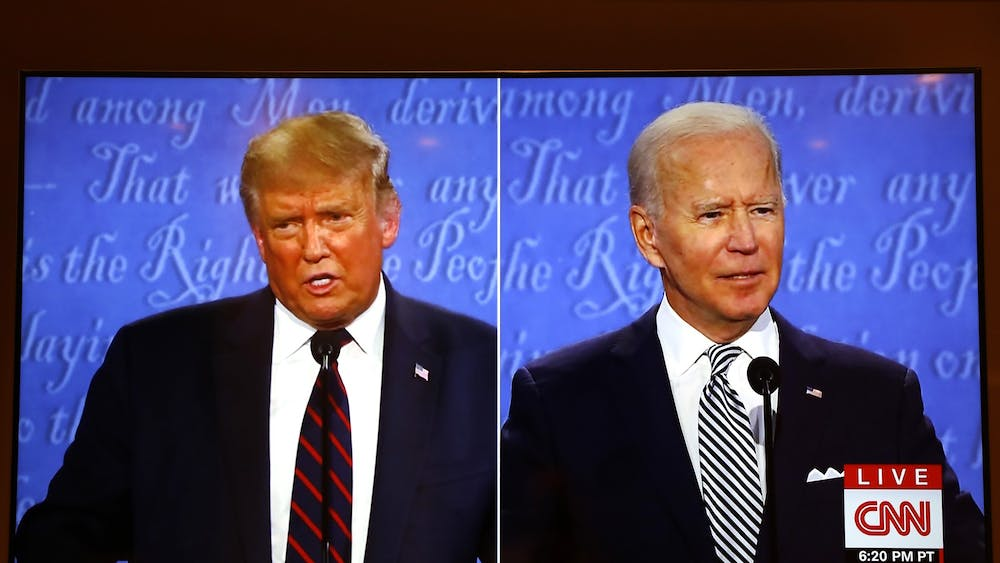 A CNN broadcast shows the first presidential debate between President Donald Trump and Democratic presidential nominee Joe Biden on Tuesday at the Health Education Campus of Case Western Reserve University in Cleveland, Ohio.