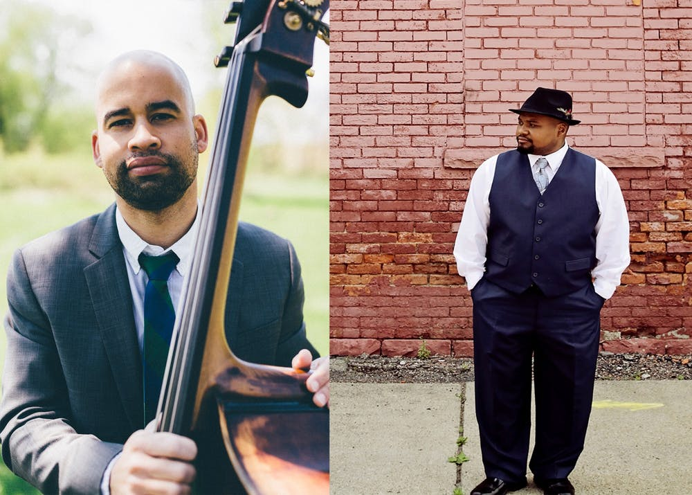 <p>Musicians Christian Dillingham, left, and Sean Dobbins, right, both pose for pictures. Dillingham and Dobbins will join the Jacobs School of Music jazz studies faculty Aug. 1.</p><p></p>