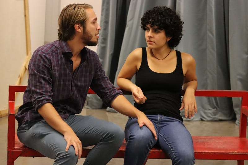 """Cast members of the play """"Stage Kiss"""" act in a rehearsal Sept. 13. Rebecca Dwoskin and Nathaniel Kohlmeier are the leads in """"Stage Kiss."""""""