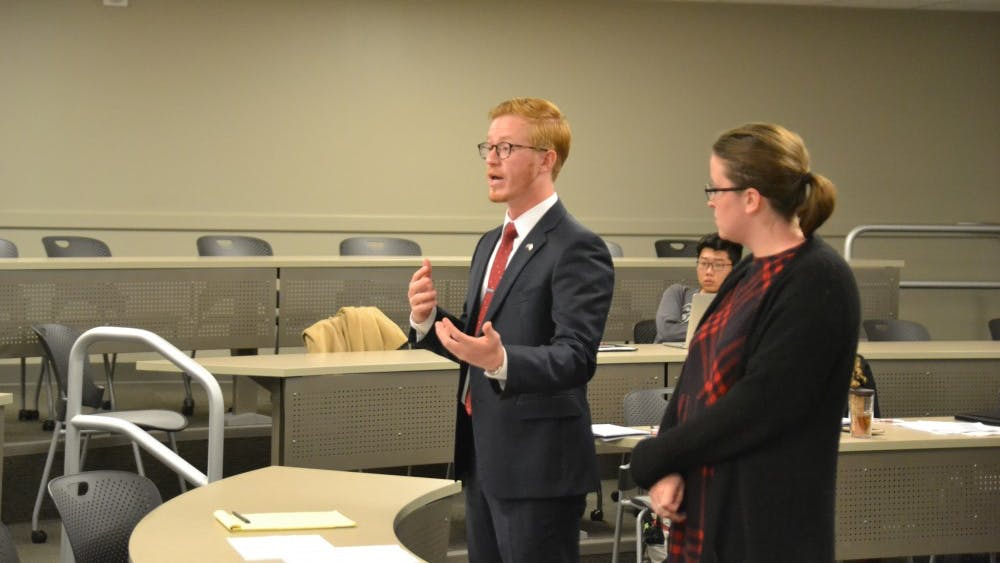 IUSG President Alex Wisniewski speaks on behalf of the Voice Executive Party on Nov. 1 at the IU Student Government Supreme Court hearing of Blue Matthews v. Voice Executive Party. The hearing dealt with issues over the IUSG budget.