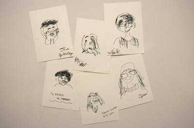 Indiana Daily Student staff drew each other Jan. 25 during a staff video. Staff members sketched each others' facial profiles for two minutes without looking at their drawing pads.