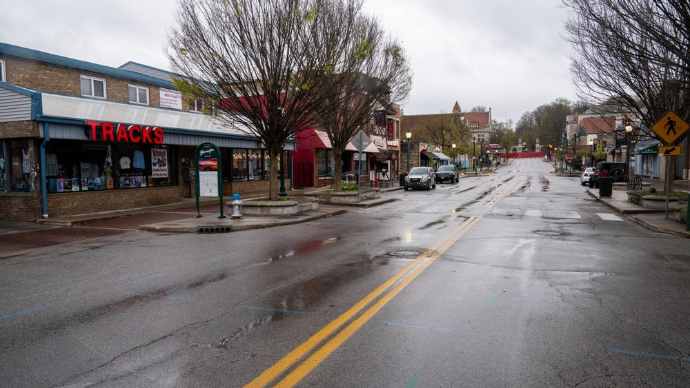 A near-empty Kirkwood Avenue is pictured. IU experts said COVID-19 has been difficult on the economy and predict that it will be especially hard on small businesses and the hospitality industry.