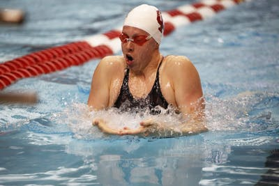 Senior Lilly King swims the breaststroke Nov. 17 at Counsilman Billingsley Aquatic Center. King placed first in her heat.