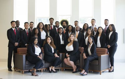 Current members of the Mu Beta Lambda Business Fraternity pose for a photo in 2019. The fraternity was founded on February 17, 2012, and became the first minority-based business fraternity in the nation.