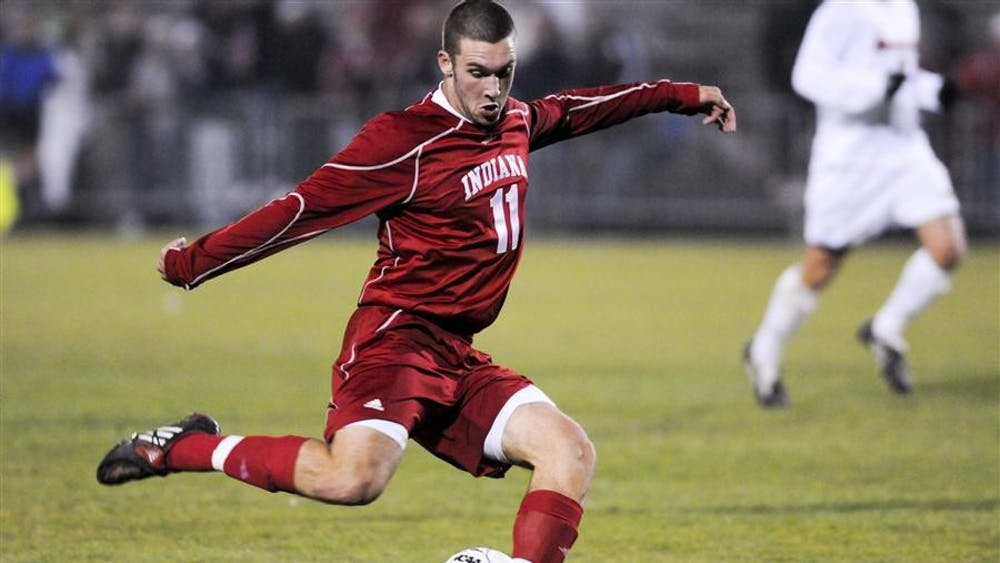 Sophomore forward Will Bruin takes a shot during the first round of the NCAA Men's Soccer Tournament against the University of Louisville on Thursday at Bill Armstong Stadium. Bruin had four shots in the scoreless first half.