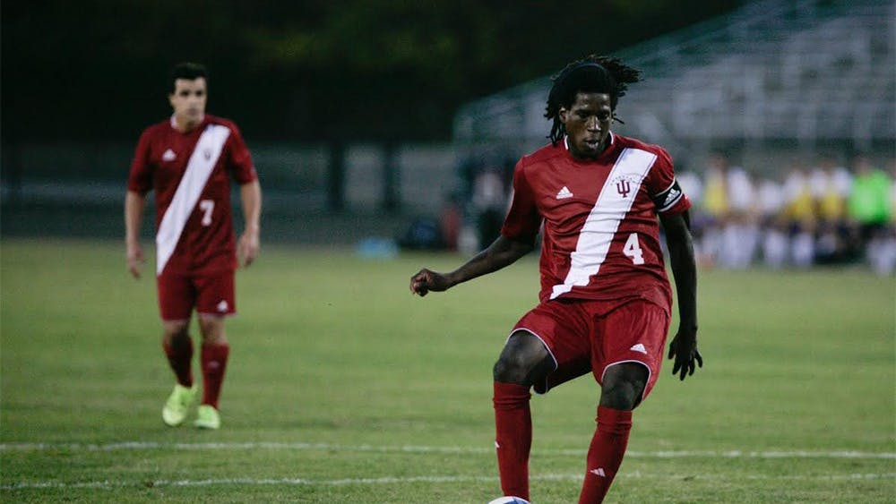 Senior Femi Hollinger-Janzen takes a penalty kick for IU during a game against Evansville on September 23rd, 2015, at Bill Armstrong Stadium. Hollinger-Janzen was drafted by the New England Revolution on Tuesday.