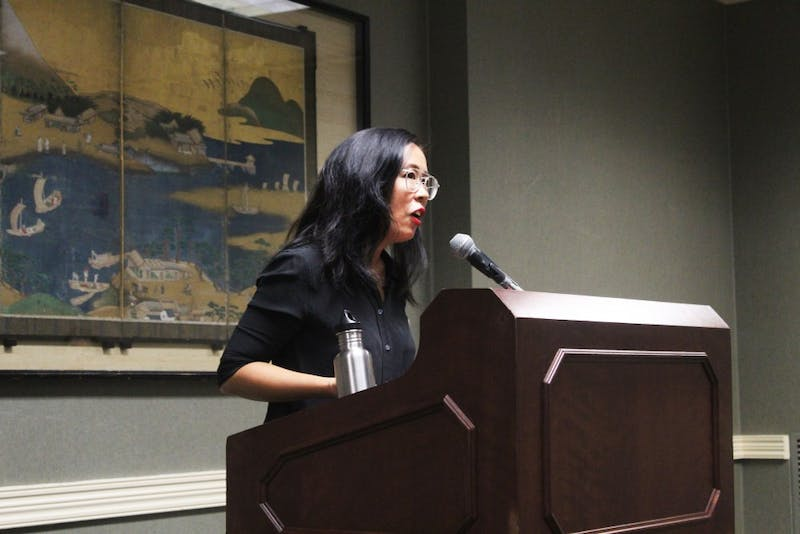 """Author Lisa Ko speaks to an audience on the inspiration behind her book """"The Leavers"""" on Sept. 18 in the Indiana Memorial Union."""