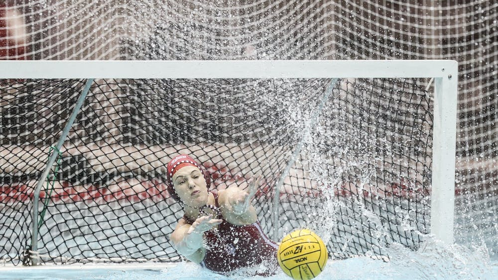 Junior goalkeeper Mary Askew blocks a shot Jan. 25, 2020, at the Counsilman-Billingsley Aquatics Center. The IU women's water polo team lost 2-9 Saturday to Arizona State.