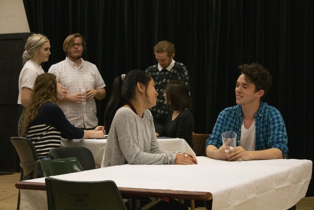 <p>Student actors rehearse for the upcoming production of &quot;The Big Meal,&quot; an independent play produced by University Players. The actors got into character and practiced their blocking for opening night, which is 7:30 p.m. April 19 in the Lee Norvelle Theatre and Drama Center A200.</p>