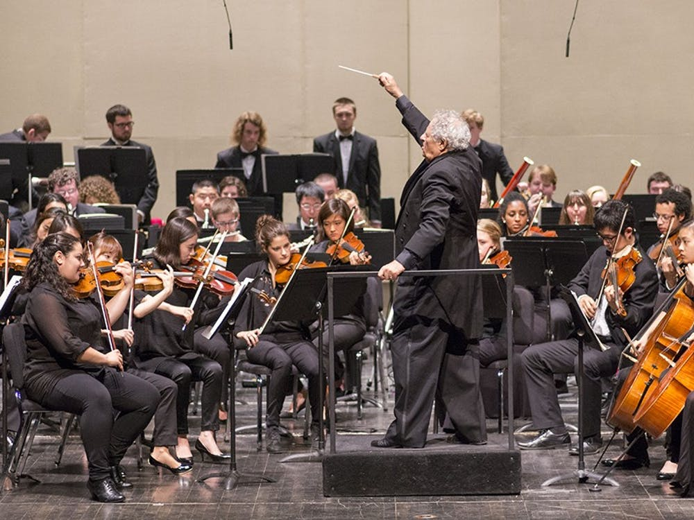 David Effron conducts the IU Philharmonic Orchestra in the 88th event of the year. The Orchestra began with a piece composed by Antonín Dvořák and ended with four pieces by Ottorino Respighi.