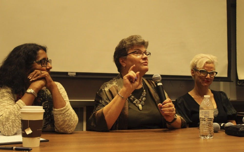 Journalism Professor Radhika Parameswaran fashion and retail studies prodessor Dr. Nancy Ann Rudd, and gender studies professor Jennifer Maher speak about negative images pertaining to women in the media. Topics including skin whitening, young female body image, and female product advertisement were discussed on the panel.
