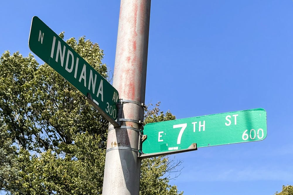 <p>Street signs for North Indiana Avenue. and East Seventh Street are seen Oct. 10, 2021. The City of Bloomington is implementing new traffic patterns across East Seventh Street as the 7-line project nears completion.</p>