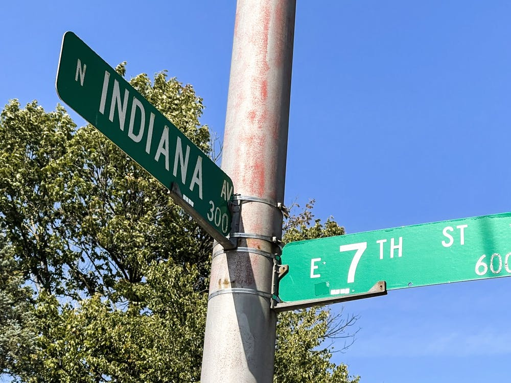 Street signs for North Indiana Avenue. and East Seventh Street are seen Oct. 10, 2021. The City of Bloomington is implementing new traffic patterns across East Seventh Street as the 7-line project nears completion.
