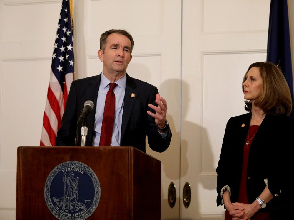 Virginia Gov. Ralph Northam, with his wife Pam at his side, said at a news conference Feb. 2 in the Executive Mansion that he is not the person in the racist photo in the Eastern Virginia Medical School yearbook, and he will not resign.