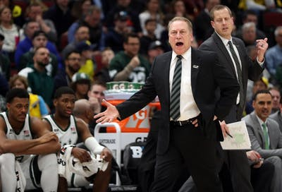 Michigan State Spartans Coach Tom Izzo yells March 17 in the first half of the game against Michigan in the Big Ten Tournament championship game at the United Center in Chicago.