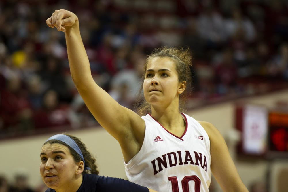 <p>Sophomore Aleksa Gulbe follows through with her shot Dec. 7 against the University of North Florida in Simon Skjodt Assembly Hall. Gulbe is still finding her rhythm for IU since returning from her ankle injury.</p>