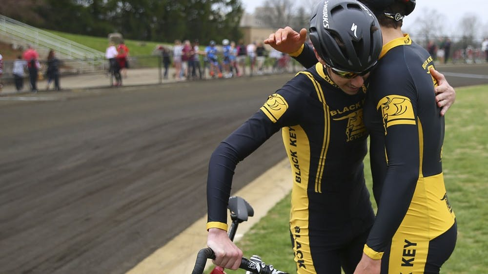 Black Key Bulls riders embrace after their qualification bid at the Bill Armstrong Stadium Saturday.  BKB qualified for the 2017 Little 500 Bike Race with a time of 02:26.5.