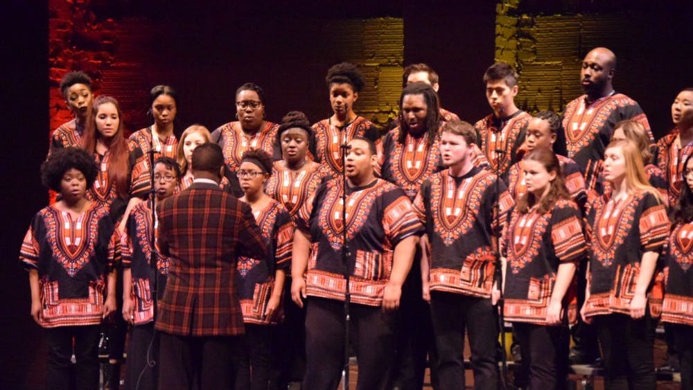 The IU African American Choral Ensemble, directed by Raymond Wise, performs a selection of music Jan. 16, 2017, in the Buskirk-Chumley Theater. Interested students can audition at 7 p.m. Jan. 9 for the African American Choral Ensemble or the IU Soul Revue.