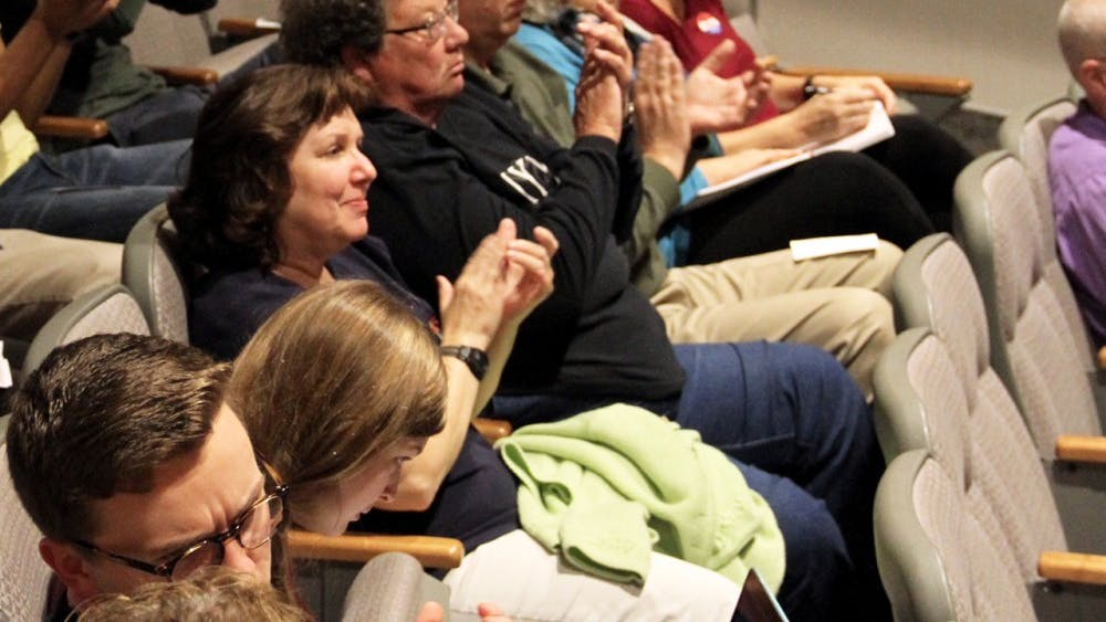 The audience claps for the speakers Wednesday during the conference of the Value of Music Education in School
