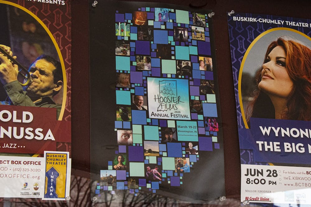 <p>A poster advertising the Hoosier Films Annual Festival is on display March 11 outside the Buskirk-Chumley Theater. The film event takes place at the theater March 19 to 22.</p>