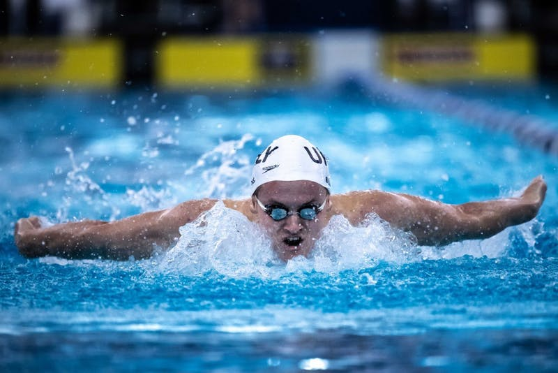 Incoming IU freshman Brendan Burns swims the butterfly with the Upper Main Line YMCA club team.