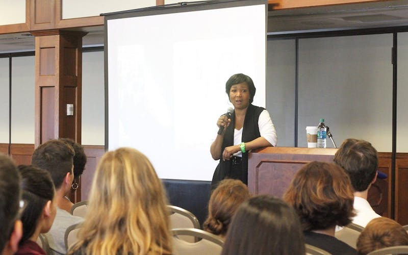 Mae Jemison, the first African-American woman to travel in space, gives a talk on campus in 2016. Jemison will speak on the importance of science, technology, engineering and math education Tuesday and Wednesday at IU's annual tech conference, Statewide IT.