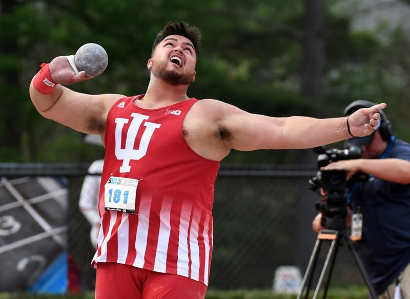 Junior Willie Morrison competes in the men's shot put Saturday afternoon during the Big Ten Outdoor Track and Field Championships at Robert C. Haugh Track and Field Complex. Morrison won the event with a throw of 20.22 meters.