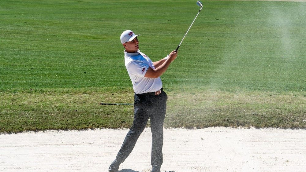Freshman Drew Salyers swings his golf club during the General Hackler Championship on March 14 in Myrtle Beach, South Carolina. Salyers won the 121st U.S Amateur Championship Sectional Qualifying tournament Monday at The Moraine Country Club in Dayton, Ohio