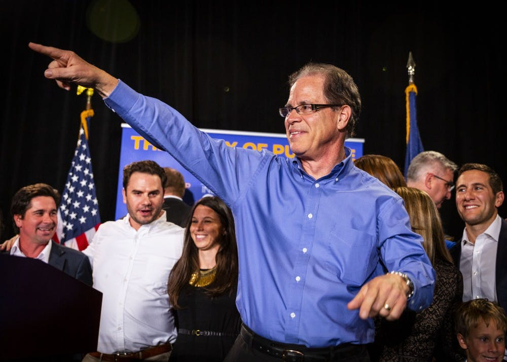 <p>Sen. Mike Braun, R-Ind., celebrates his win in the Senate race Nov. 6, 2019, at the JW Marriott in Indianapolis. Braun is one of 11 Republican senators planning to challenge presidential election results Jan. 6 in Congress.&nbsp;</p>
