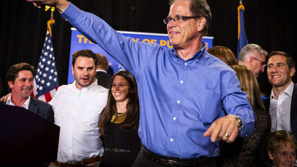 Sen. Mike Braun, R-Ind., celebrates his win in the Senate race Nov. 6, 2019, at the JW Marriott in Indianapolis. Braun is one of 11 Republican senators planning to challenge presidential election results Jan. 6 in Congress.